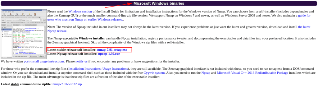 Install Nmap on Windows download source: nudesystems.com