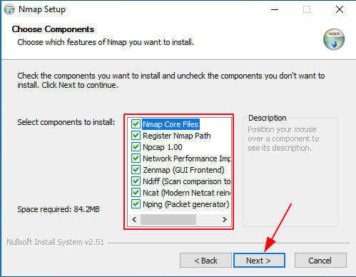 Install Nmap in Windows Choose Components source: nudesystems.com