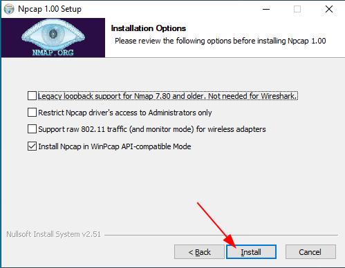 Install Npcap on Windows. Source:  nudesystems.com