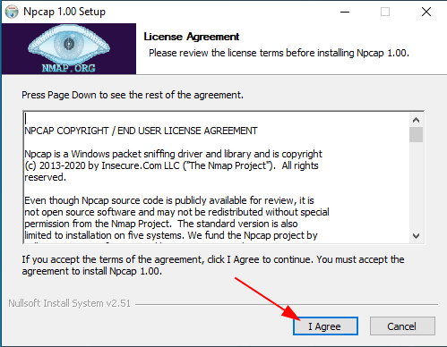 Install Nmap in Windows License Agreement source: nudesystems.com