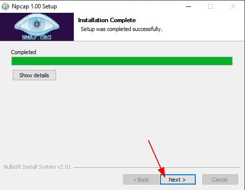 Install Npcap on Windows Source:  nudesystems.com