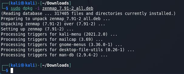 install zenmap on Kali Linux source: nudesystems.com