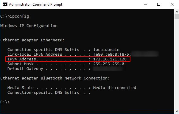 windows ipconfig source: nudesystems.com