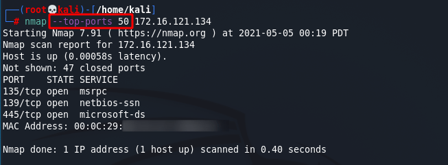 [NMAP Scan Any Port]: Scan top 50 most commonly used ports. Source: nudesystems.com