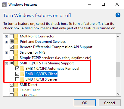 Virtual Hacking Lab - Windows 10 Enable Samba support on Windows 10. Source: nudesystems.com