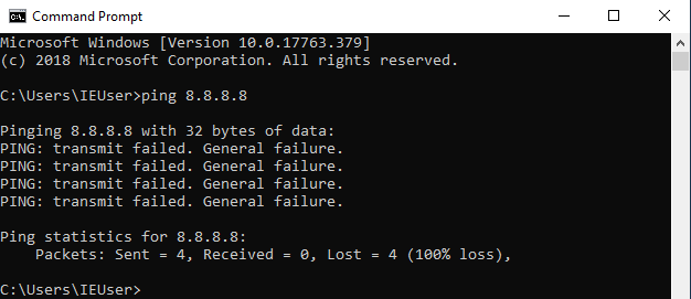 Virtual hacking lab. Ping Google DNS server from Windows 10 VM. Source: nudesystems.com