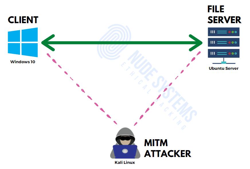 MITM Ettercap ARP Poisoning - Lab overview. Source: nudesystems.com