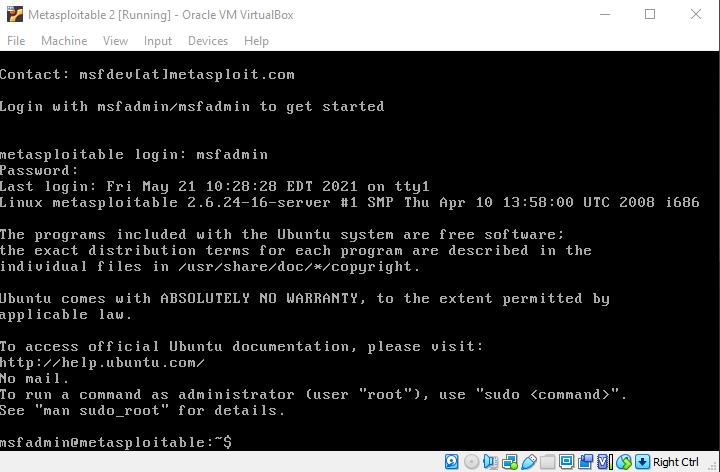 Virtual hacking lab. Login Metasploitable 2 VM. Source: nudesystems.com