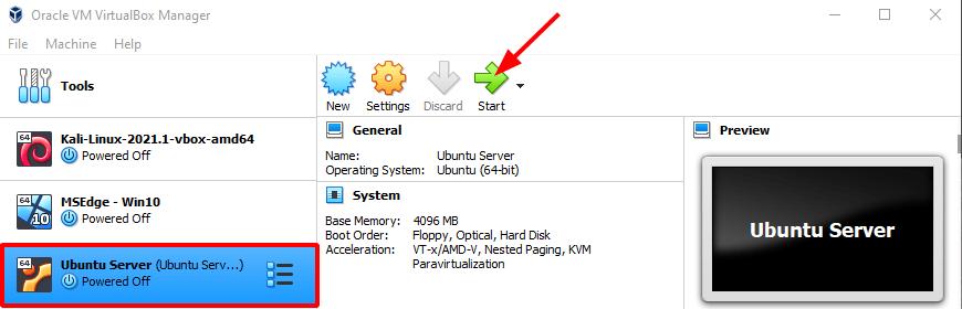 Virtual Hacking Lab - VirtualBox Ubuntu Server launch. Source: nudesystems.com