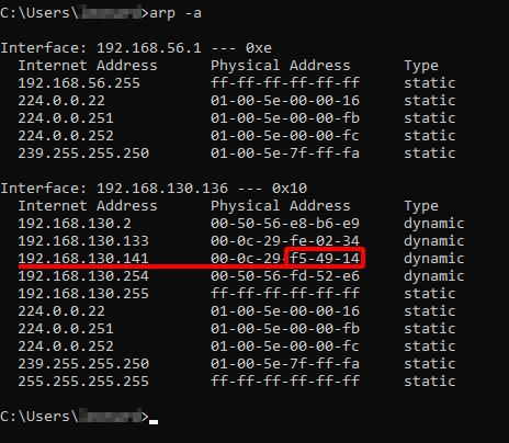 MITM Ettercap ARP Poisoning - Check Client [Windows 10] ARP. Source: nudesystems.com