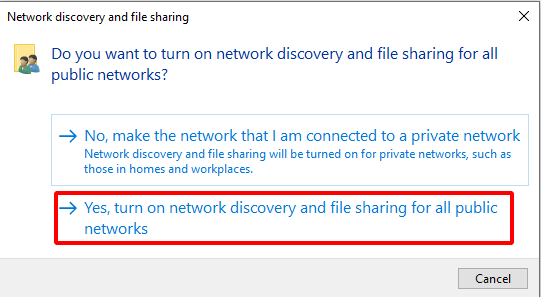 Virtual Hacking Lab - Turn on network discovery and file sharing for all public networks. Source: nudesystems.com