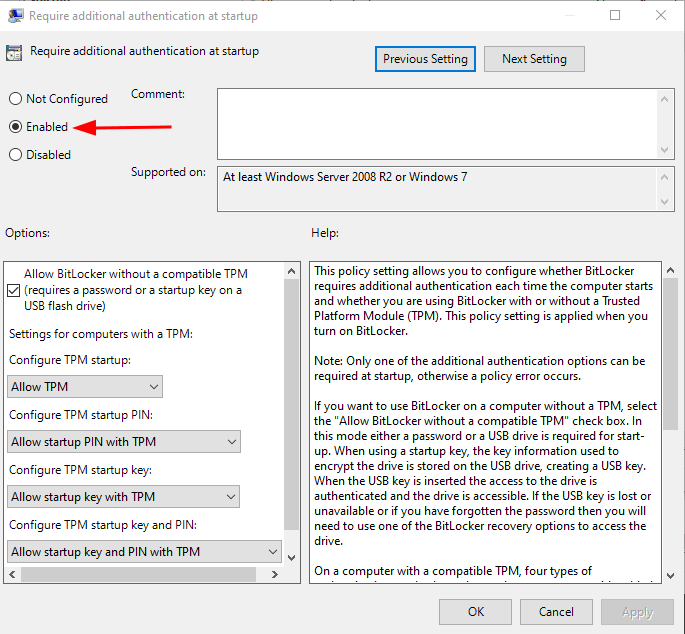 TPM Enable Allow BitLocker Without a Compatible TPM. Source: nudesystems.com